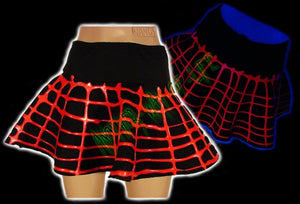 Cyber mini skirt in black and fluorescent red - Another Way of Life