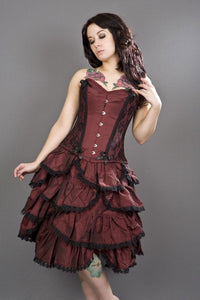Burleska Chantelle overbust corset in burgundy taffeta with lace detail Another Way of Life