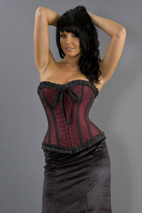 Burleska Lily hook and eye overbust corset in burgundy taffeta Another Way of Life