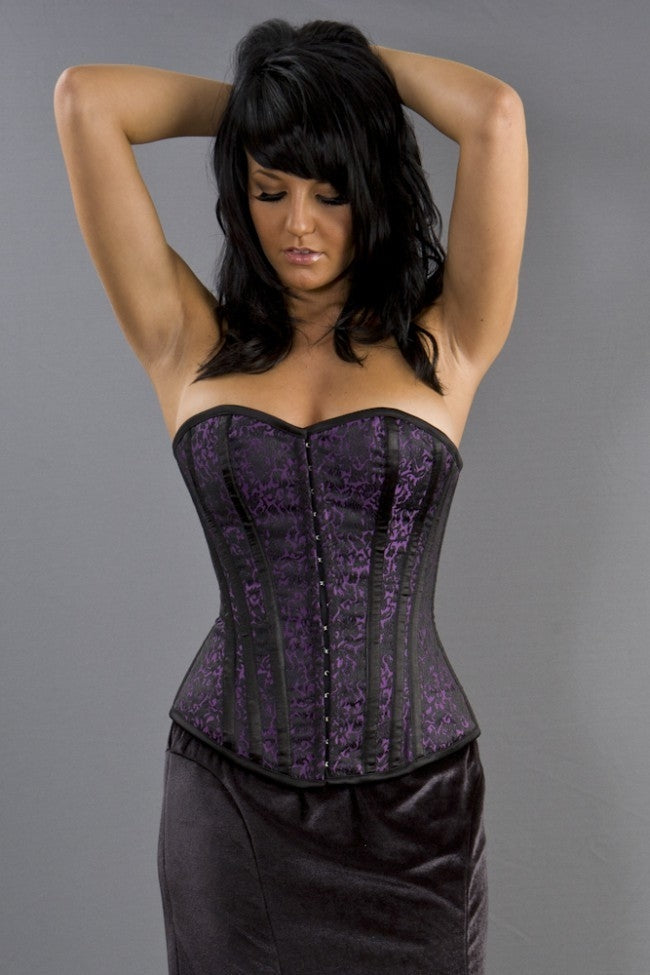 Burleska Devine Purple Brocade Overbust Corset Another Way of Life