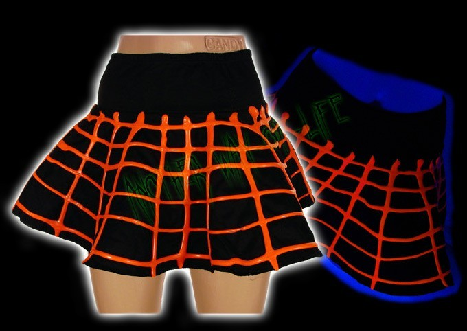 Cyber mini skirt in black and fluorescent orange - Another Way of Life