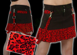 Mini skirt in black cotton with red leopard