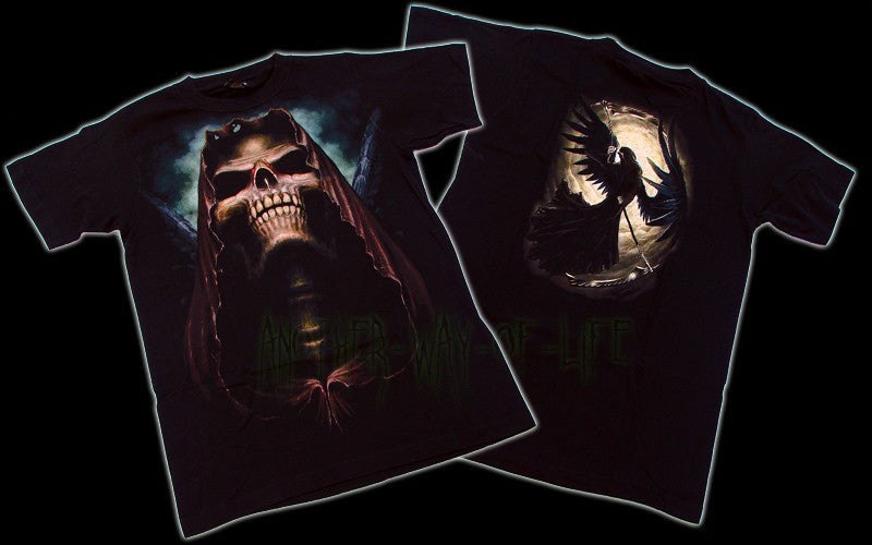 Men's Black Goth T-Shirt Skull Black Angel Another Way of Life
