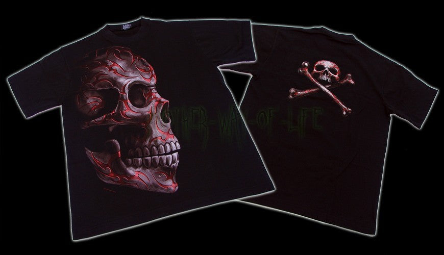 Men's Black T-Shirt Skull Tattoo Another Way of Life