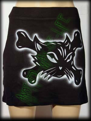 Mini black skirt with cat and cross bones