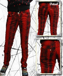 Red Snakeskin Hipster JeansAnother Way of Life