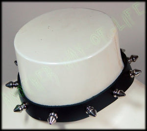 Punk leather collar with 9 spikes 1 cm longAnother Way of Life