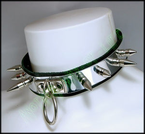 Punk leather collar with spikes and rings Another Way of Life