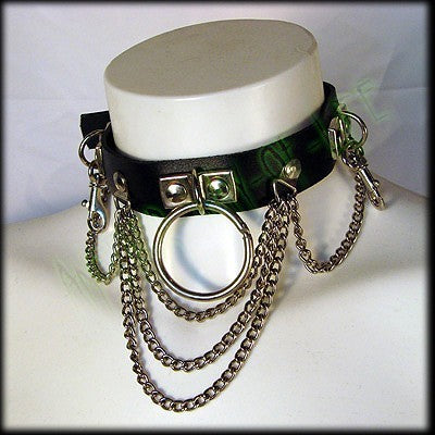Punk leather collar with chains and rings Another Way of Life