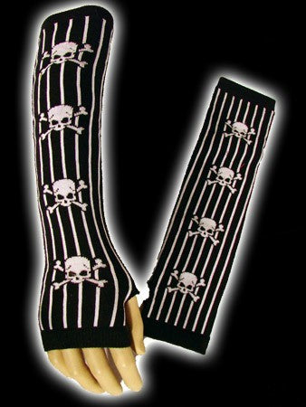 Fingerless gloves with black and white stripes with skulls - Another Way of Life