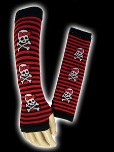 Fingerless gloves with black and red stripes with skulls - Another Way of Life
