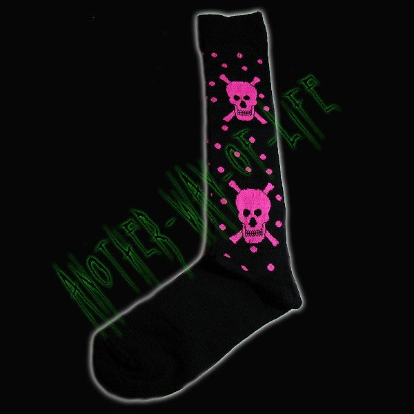 Ladies Knee high stocks with skulls. Another Way of Life