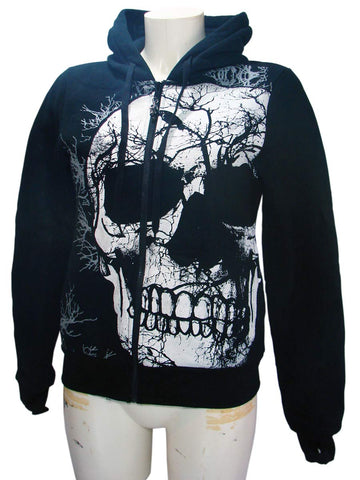 Black Crow Skull Woman's Hoodie By JawBreaker