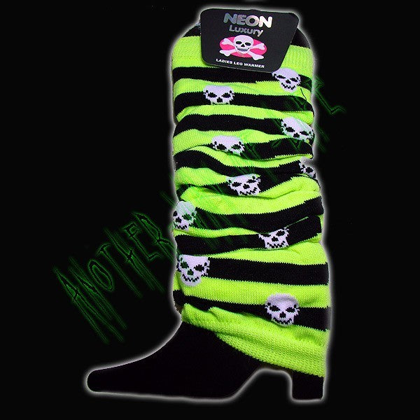Leg Warmers neon stripes and skulls Another Way of Life