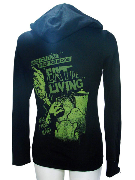 Black Woman's Hoodie eat the living By SourpussAnother Way of Life
