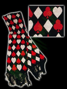 Black scarf with designs of playing cards Another Way of Life