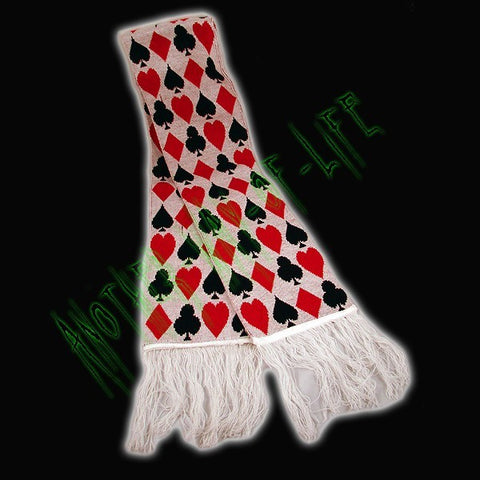 White scarf with designs of playing cardsAnother Way of Life