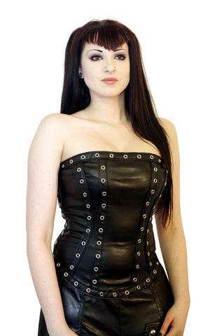 Top Jarta Leather Look Eyelet Trim by Phaze