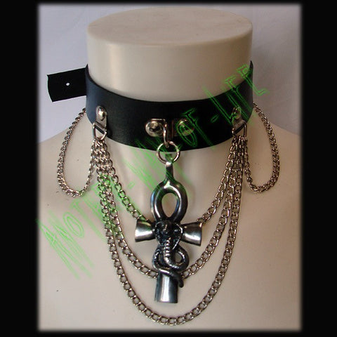 Leather Choker with Cross ankh and a snake Another Way of Life