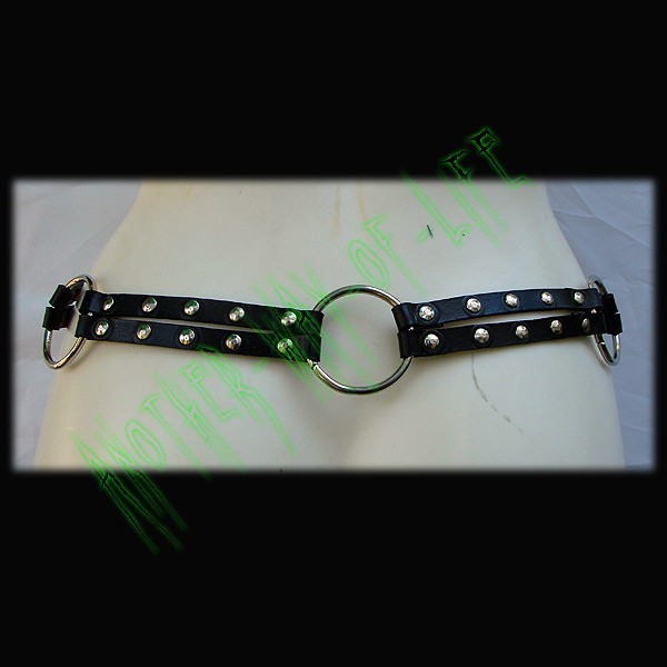Gothic rock black leather belt with metal rings Another Way of Life