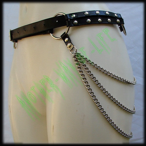 Punk black leather belt with rings and chains By Another Way of LifeAnother Way of Life