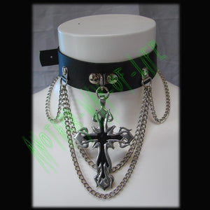 Leather Choker with cross Another Way of Life