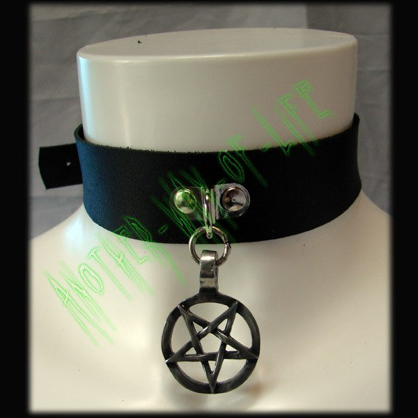 Leather Choker with inverted pentagram medallion Another Way of Life