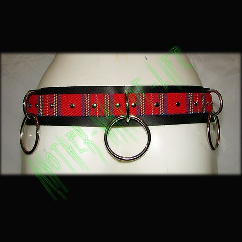Black Punk Belt with rings and tartan By Another Way of LifeAnother Way of Life