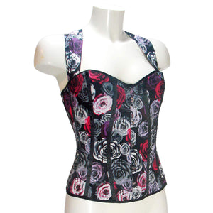 Corset Bodice Top Oi Oi Roses Print by Hell Bunny