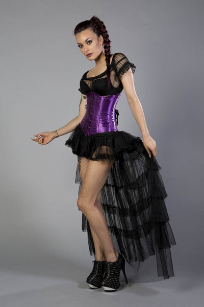 Burleska Candy underbust steel boned waist training corset in purple satinAnother Way of Life