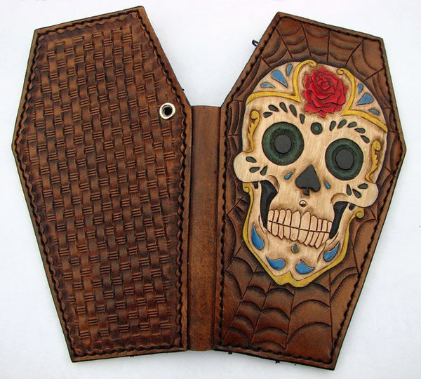 Coffin-shaped wallet: Sugar Skull Another Way of Life