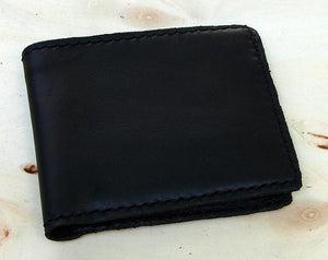 Handmade bifold leather wallet black Another Way of Life
