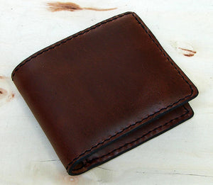 Handmade bifold leather wallet brown Another Way of Life