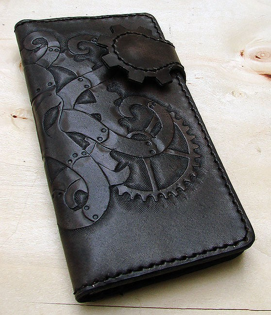 Cow leather wallet style biker with octopus steampunk black Another Way of Life