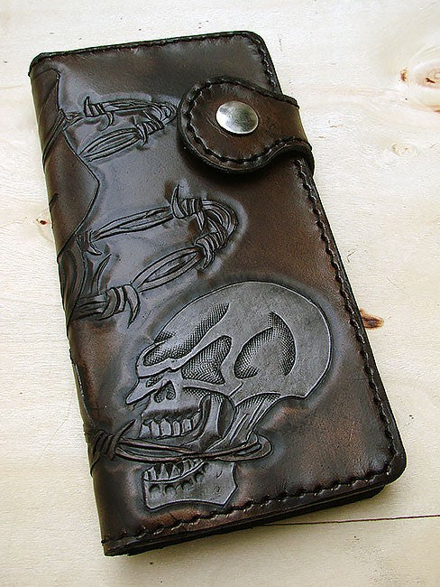 Biker-style wallet with white skull Another Way of Life