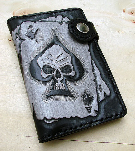 Biker wallet with engraved ace of spades Another Way of Life