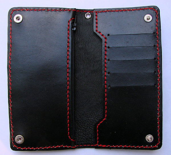 Cow leather biker-style wallet  with devil Another Way of Life