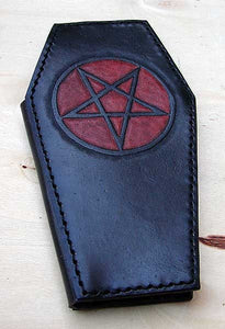 Biker style coffin wallet with pentagram Another Way of Life