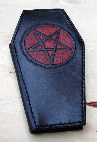 Biker style coffin wallet with pentagram by Another Way of LifeAnother Way of Life