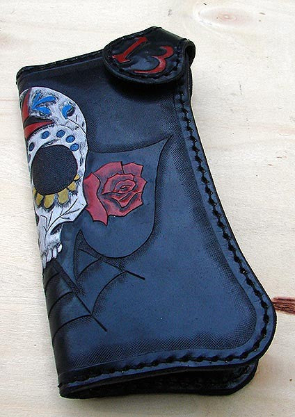 Biker style sugar skull cow leather walletAnother Way of Life
