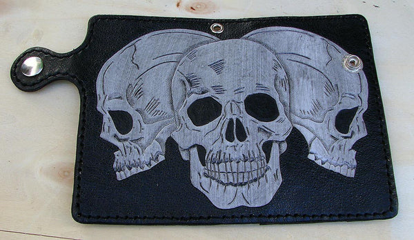 Bifold cow leather wallet biker style with 3 skulls Another Way of Life