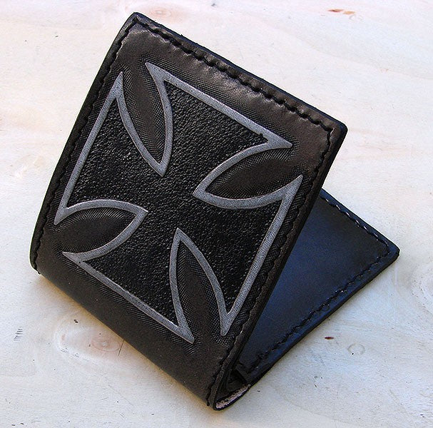 Handcrafted bifold wallet with iron cross Another Way of Life
