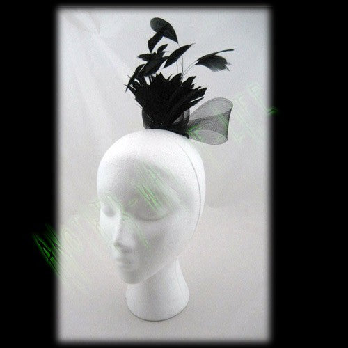 Fascinator Black With Net Boa & Feather Detail Another Way of Life