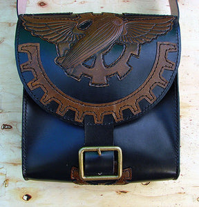 Messenger bag in cow leather steampunk zeplin Another Way of Life