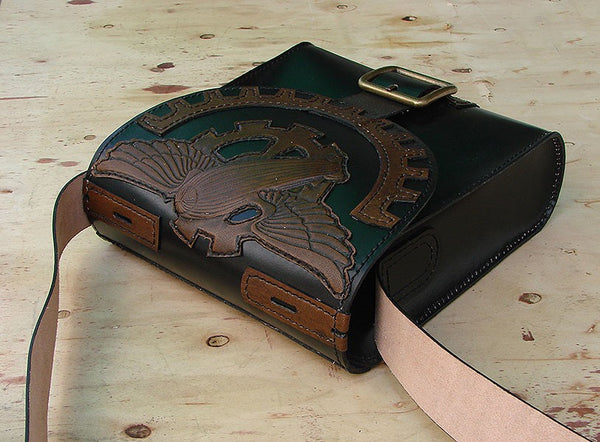 Messenger bag in cow leather steampunk zeplinAnother Way of Life
