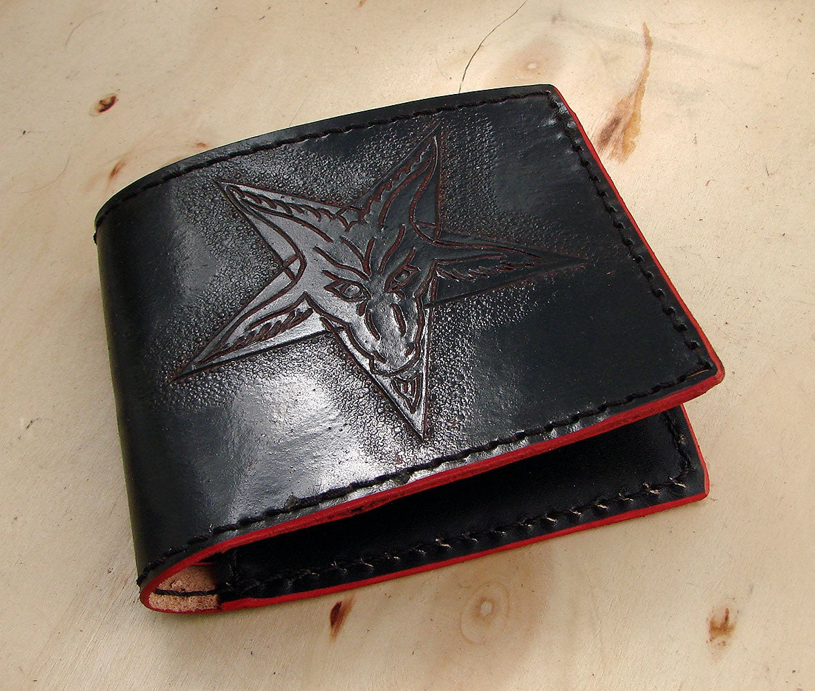Handcrafted bifold wallet with baphomet Another Way of Life