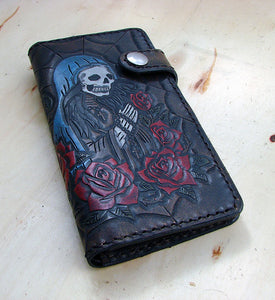 Cow leather wallet style biker with santa muerte and a spider web Another Way of Life