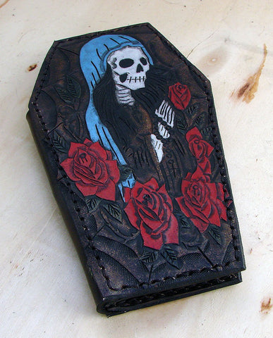 Biker style coffin wallet with santa muerte and a spider web Another Way of Life