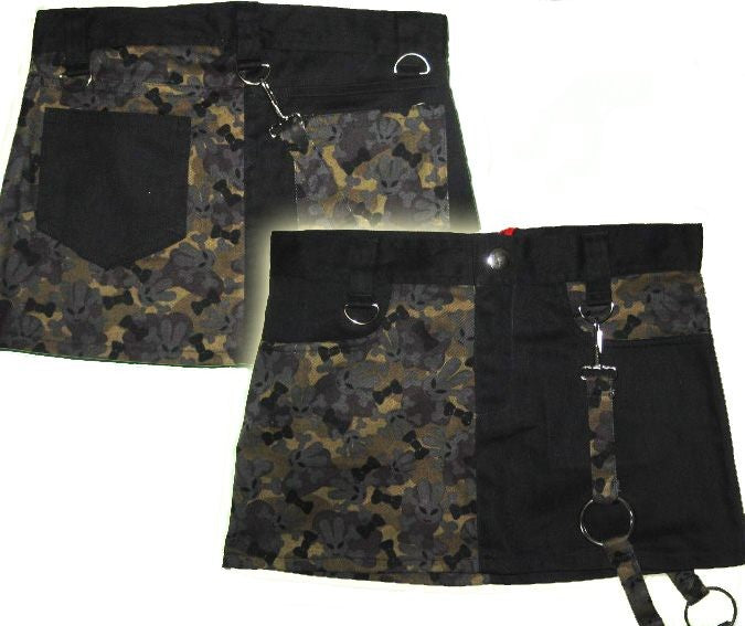 Darkside Black mini-skirt with military camouflage pattern Another Way of Life