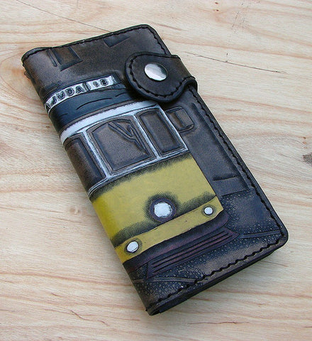 Cow leather wallet style biker with electric Lisbon Another Way of Life